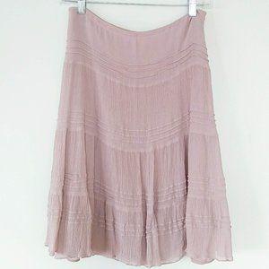 Cote Femme 100% Silk Tiered Skirt Mauve Crinkle